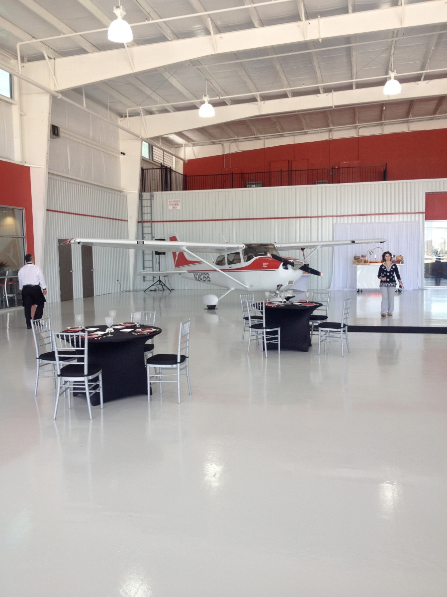 Hangar Space w/ Plane and tables