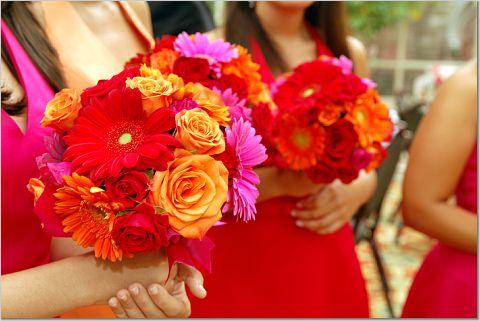 Bridesmaids Bouquets Orange Red Purple Platinum Weddings And Events