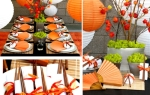 Orange lanterns and table decor