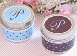 Light Blue and Brown wedding favor containers