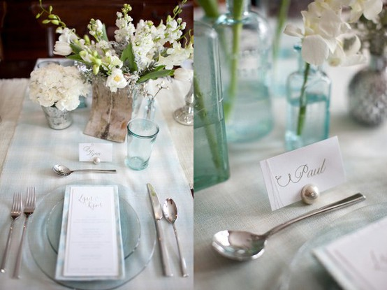 Light blue glass centerpieces platinum weddings and events