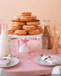cake stand with donuts