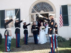 military sword arch in from of chapel