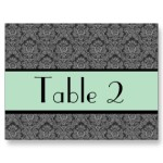 mint wedding table number